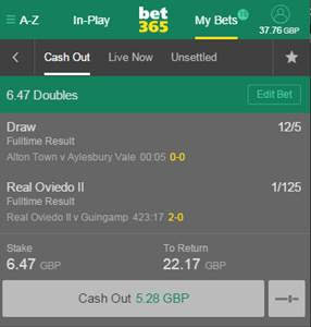 bet365 Edit Bet - Cash Out Facility