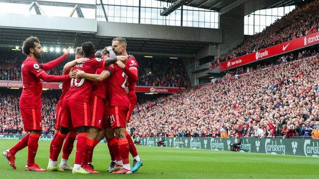 Liverpool celebrate after scoring in their 2-0 win over Burnley